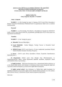 2015-8 sayılı Kararın Uygulama Usul ve Esasları Genelgesi