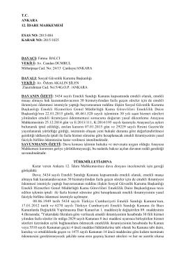 T.C. ANKARA 12. İDARE MAHKEMESİ ESAS NO: 2015/484 KARAR