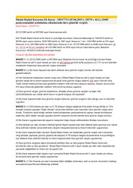 İthalat Rejimi Kararına Ek Karar - 2015/7712 (07.06