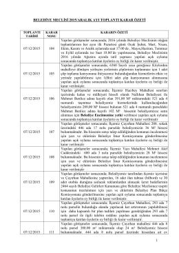 belediye meclisi 2015 aralık ayı toplantı karar özeti