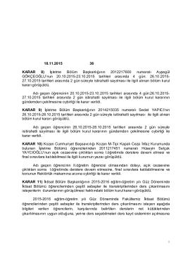 18.11.2015 36 KARAR 8) İşletme Bölüm Başkanlığının 2012217600