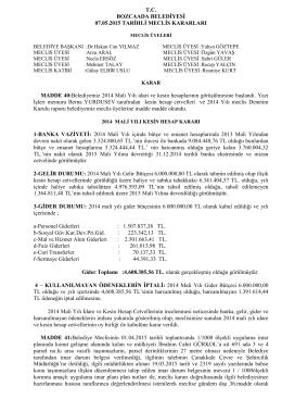 07.05.2015 Meclis Karar - Bozcaada Belediye Başkanlığı