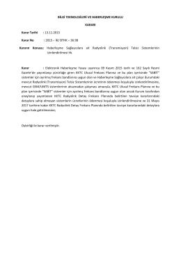(Transmisyon) Telsiz Sistemlerinin izinlendirilmesi Kararı