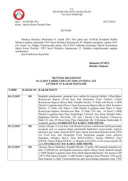 01 Aralık 2015 Tarihli Olağan Meclis Toplantısı Karar Özeti