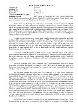 KAMU İHALE KURULU KARARI Toplantı No : 2015/032 Gündem No