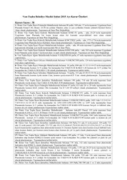 Karar Özetleri - Tuşba Belediyesi