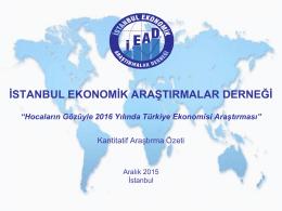 Hocaların Gözüyle 2016 Yılında Türkiye Ekonomisi Araştırması