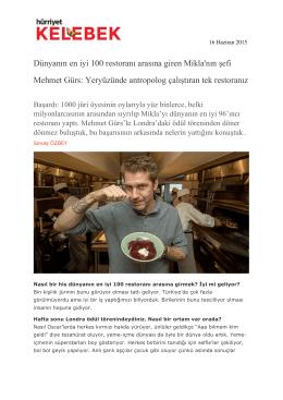Dünyanın en iyi 100 restoranı arasına giren Mikla`nın şefi Mehmet