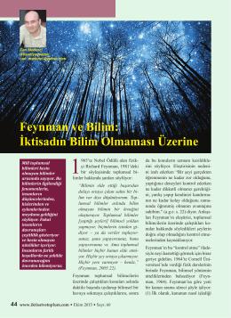Feynman ve Bilim - İktisat ve Toplum Dergisi