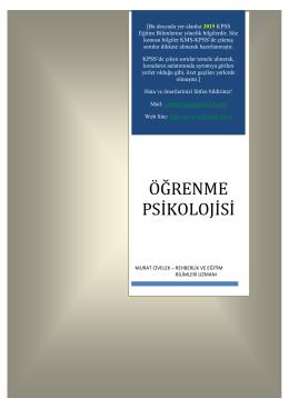 Öğrenme Psikolojisi - Sürekli Kpss-Kpss Ders Notları