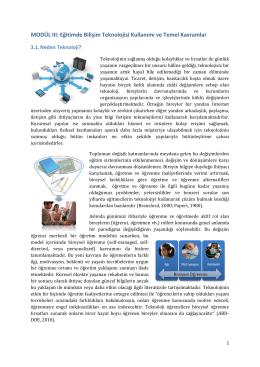 MODÜL III: Eğitimde Bilişim Teknolojisi Kullanımı ve Temel