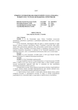 6547 türkiye yeterlilikler çerçevesinin uygulanmasına ilişkin usul ve