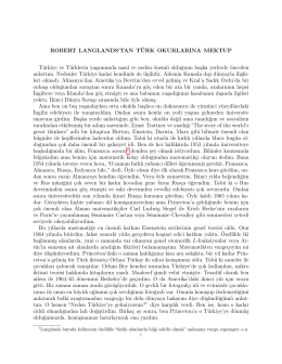 ROBERT LANGLANDS`TAN TÜRK OKURLARINA MEKTUP Türkiye
