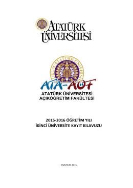 2015-2016 öğretim yılı ikinci üniversite kayıt kılavuzu