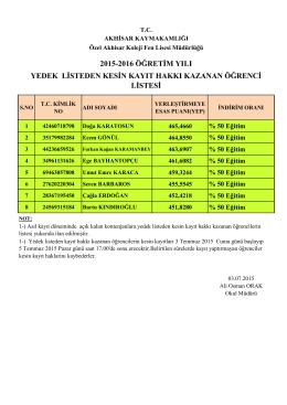 2015-2016 öğretim yılı yedek listeden kesin kayıt hakkı kazanan
