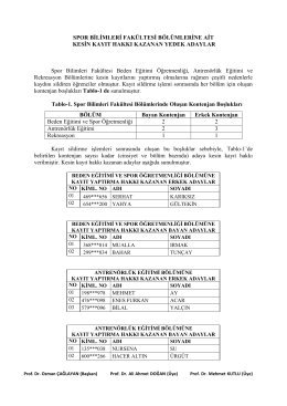 Fakültemiz bölümlerine kesin kayıt hakkı kazanan yedek adaylar