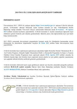 kayıt tarihleri - Osmangazi Üniversitesi
