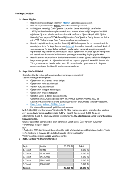 Yeni Kayıt 2015/16 1- Genel Bilgiler • Hazırlık sınıfları ön kayıt