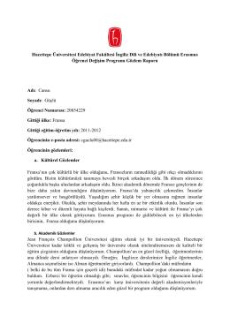 Cansu Güçlü - Hacettepe Üniversitesi İngiliz Dili ve Edebiyatı Bölümü