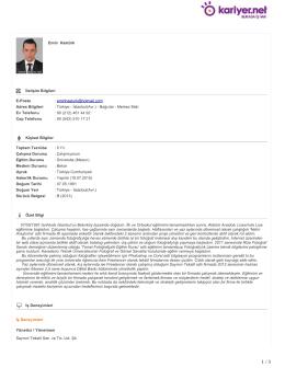 Emin Hastürk İletişim Bilgileri E-Posta : eminhasturk