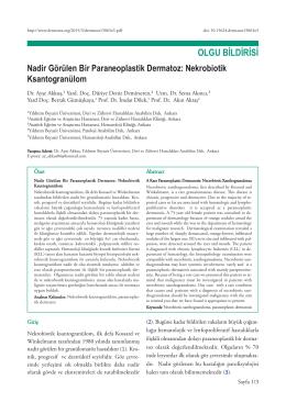 Nadir Görülen Bir Paraneoplastik Dermatoz: Nekrobiotik