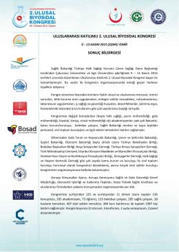 konge sonuç bildirgesi - uluslararası katılımlı 2. ulusal biyosidal