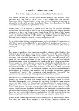 prof. dr. cem eroğul`un kongre`deki açılış bildirgesi