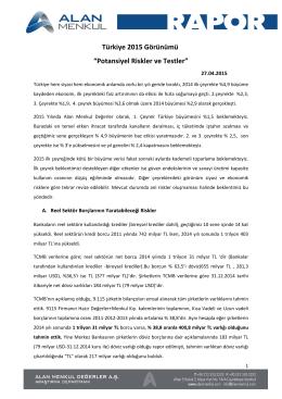 """Türkiye 2015 Görünümü """"Potansiyel Riskler ve Testler"""""""