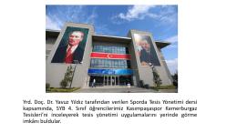 """Öğrenci Yrd. Doç. Dr. Yavuz Yıldız`ın """"Sporda Tesis Yönetimi"""""""