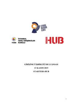 girişimci işbirliği buluşması 13 kasım 2015 starters-hub