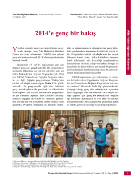 PDF - 2014`e genç bir bakış - Türkiye Aile Hekimliği Dergisi