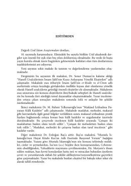 EDİTÖRDEN - DergiPark