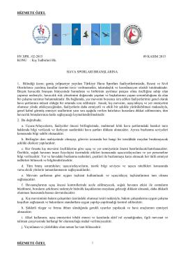 kış emniyet tedbirleri - Türkiye Hava Sporları