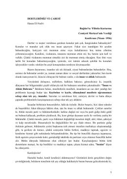 1 DERTLERİMİZ VE ÇARESİ Hasan El-Nedvi