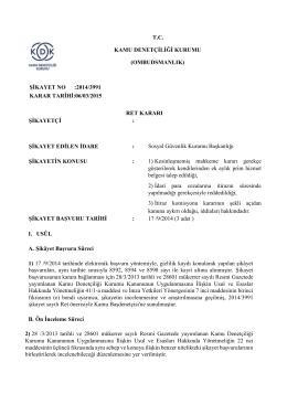 Dosya No: 2014-3991 - Kamu Denetçiliği Kurumu