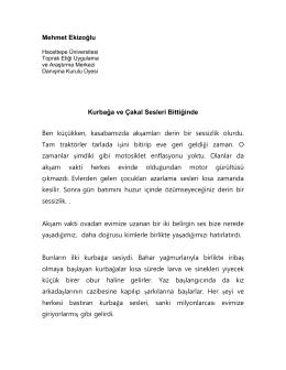 Doğa Yazını - Hacettepe Üniversitesi Toprak Etiği Uygulama ve