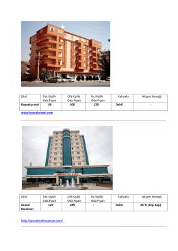 Otel Tek Kişilik Oda Fiyatı Çift Kişilik Oda Fiyatı Üç Kişilik Oda Fiyatı