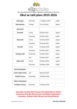 Okul ve tatil planı 2015-2016