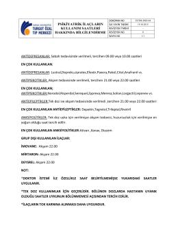 TOTM-DSD-044 Psikiyatrik ilaçların kullanım saatleri hakkında