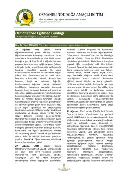 4 Eylül 2015 Eğitim Dönemi Proje Günlüğü (Eğitmen notları)