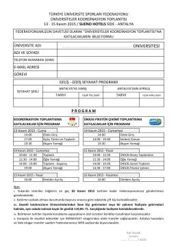 Bilgi Formu - Türkiye Üniversite Sporları Federasyonu