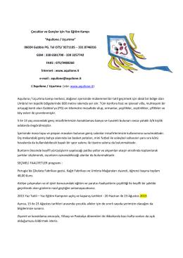 """Çocuklar ve Gençler için Yaz Eğitim Kampı """"Aquilone / Uçurtma"""