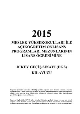 2015 Dikey Geçiş Sınavı(DGS) - Öğrenci İşleri Bilgi Sistemi
