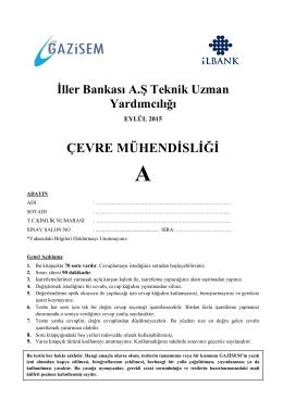 ÇEVRE MÜHENDİSLİĞİ - İller Bankası Genel Müdürlüğü