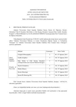 Güzel Sanatlar Fakültesi 2014 – 2015 Eğitim Öğretim Yılı