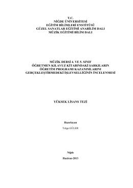müzġk dersġ 4. ve 5. sınıf öğretmen kılavuz kitabındaki şarkıların