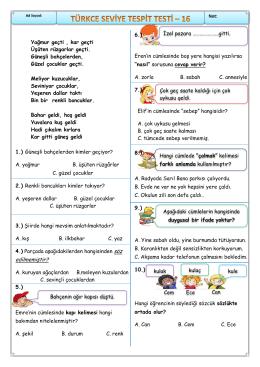 2. Sınıf Türkçe 2. Dönem İkinci Değerlendirme Testi(Mart )