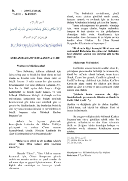 İL : ZONGULDAK TARİH : 24.09.2015 Muhterem Müslümanlar! Yüce