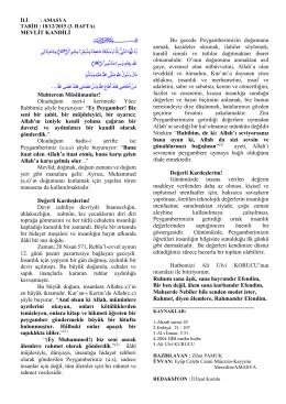MEVLİT KANDİLİ Muhterem Müslümanlar!