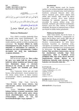 KANAYAN YARA FAİZ Muhterem Müslümanlar! Yüce Allah`ın